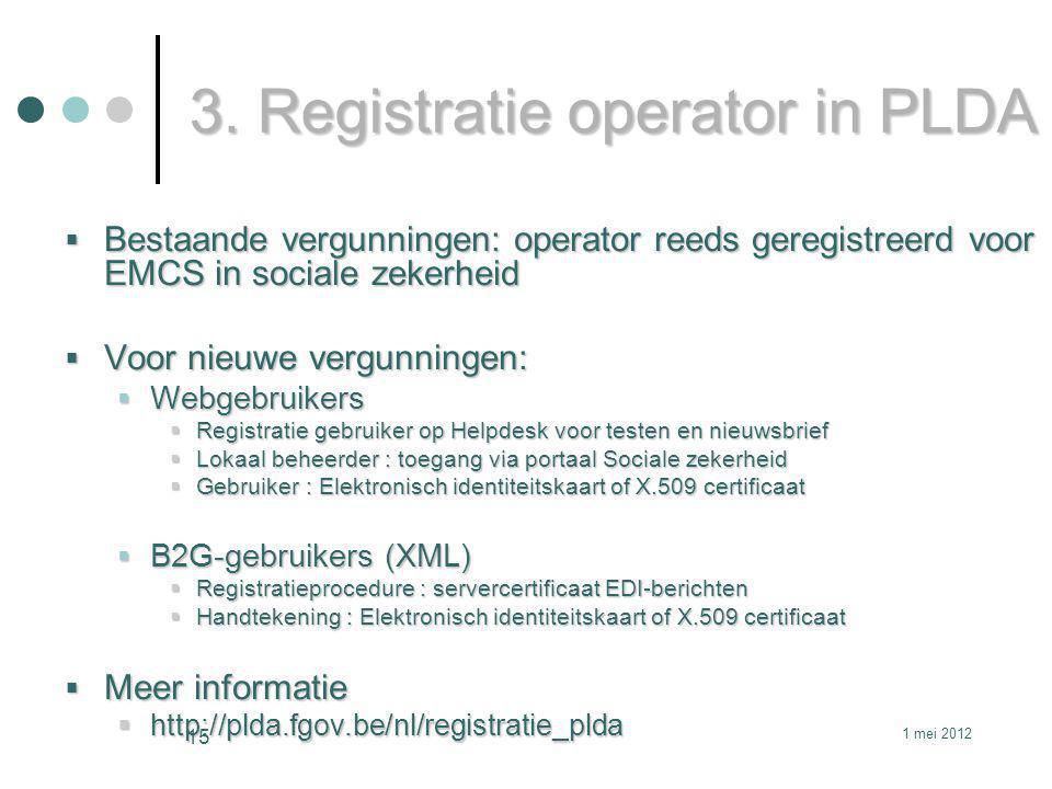 3. Registratie operator in PLDA
