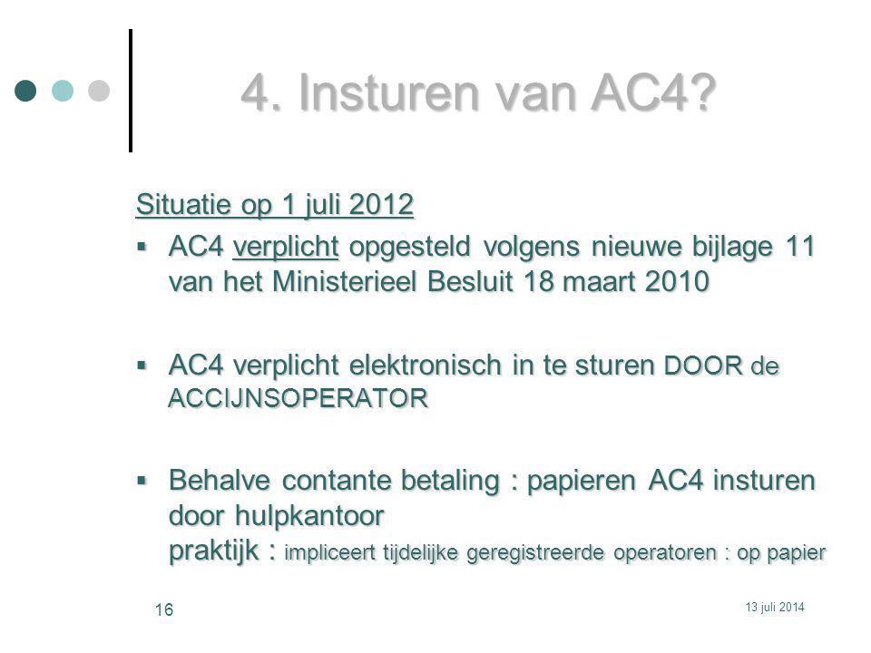 4. Insturen van AC4 Situatie op 1 juli 2012