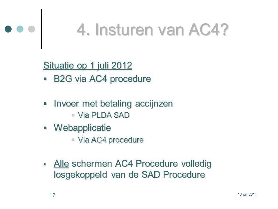 4. Insturen van AC4 Situatie op 1 juli 2012 B2G via AC4 procedure