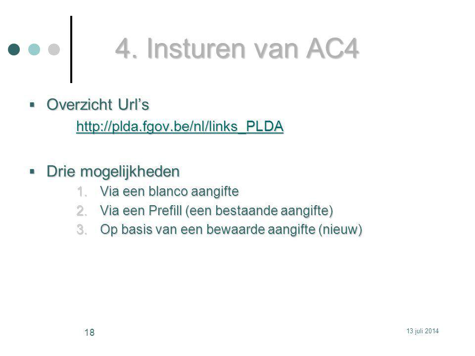 4. Insturen van AC4 Overzicht Url's Drie mogelijkheden