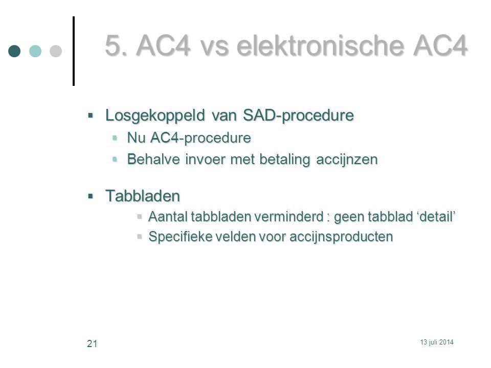5. AC4 vs elektronische AC4 Losgekoppeld van SAD-procedure Tabbladen
