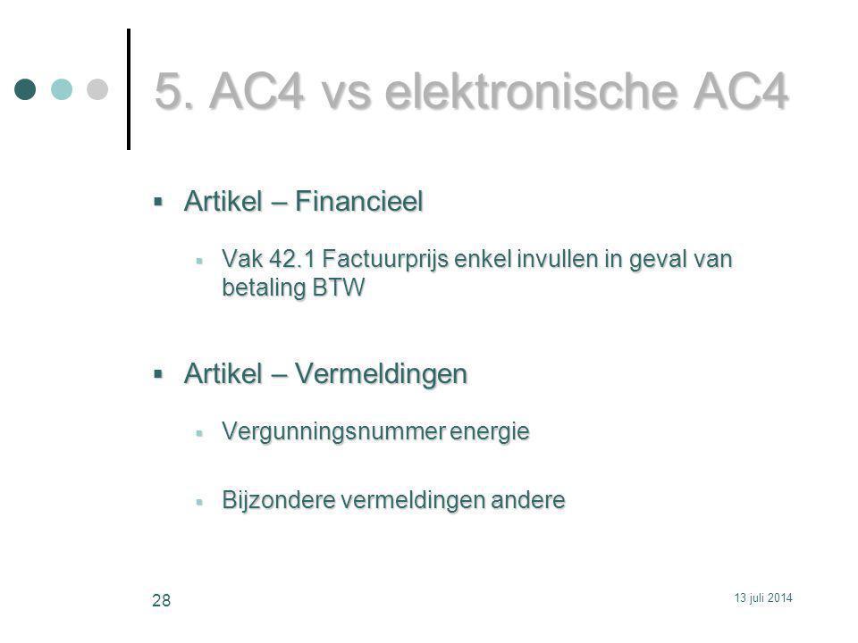 5. AC4 vs elektronische AC4 Artikel – Financieel