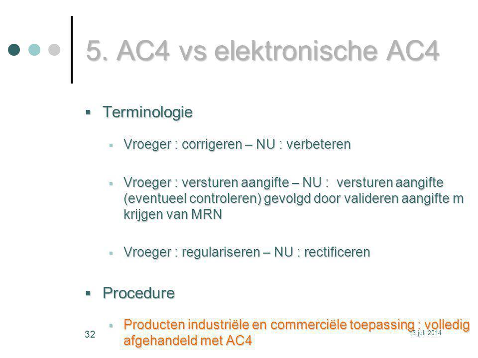 5. AC4 vs elektronische AC4 Terminologie Procedure