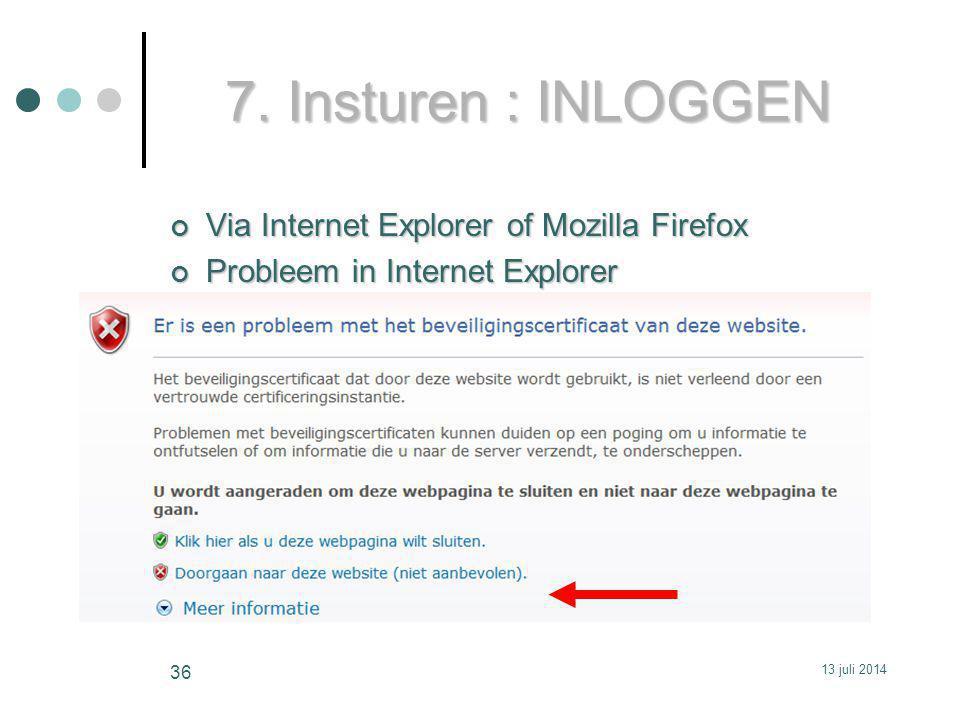 7. Insturen : INLOGGEN Via Internet Explorer of Mozilla Firefox