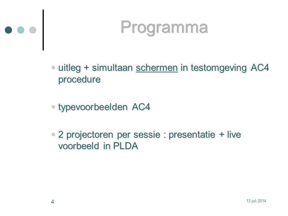 Programma uitleg + simultaan schermen in testomgeving AC4 procedure