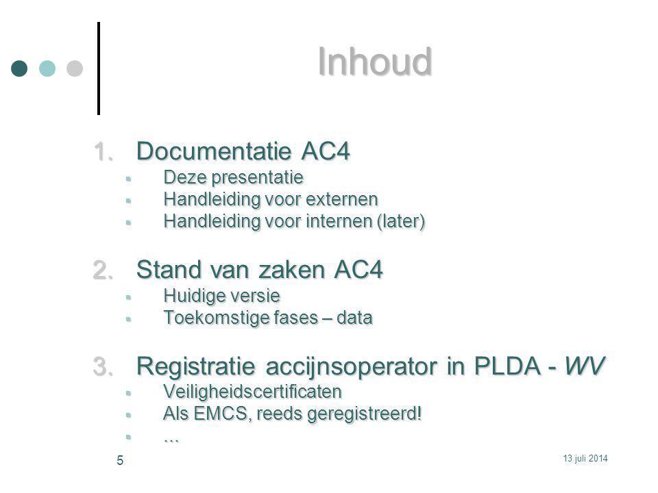 Inhoud Documentatie AC4 Stand van zaken AC4