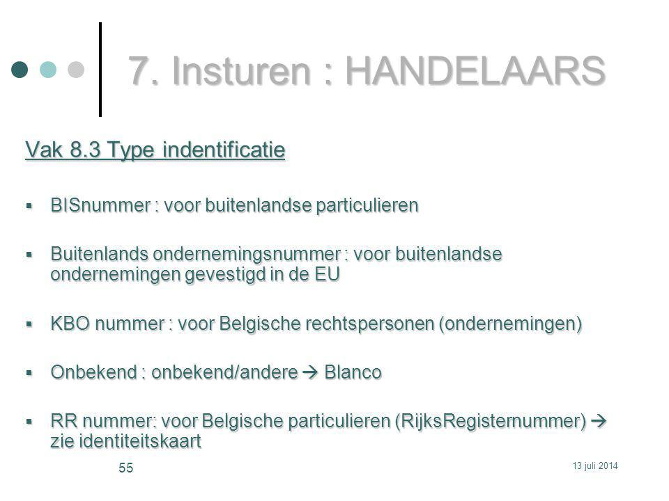 7. Insturen : HANDELAARS Vak 8.3 Type indentificatie