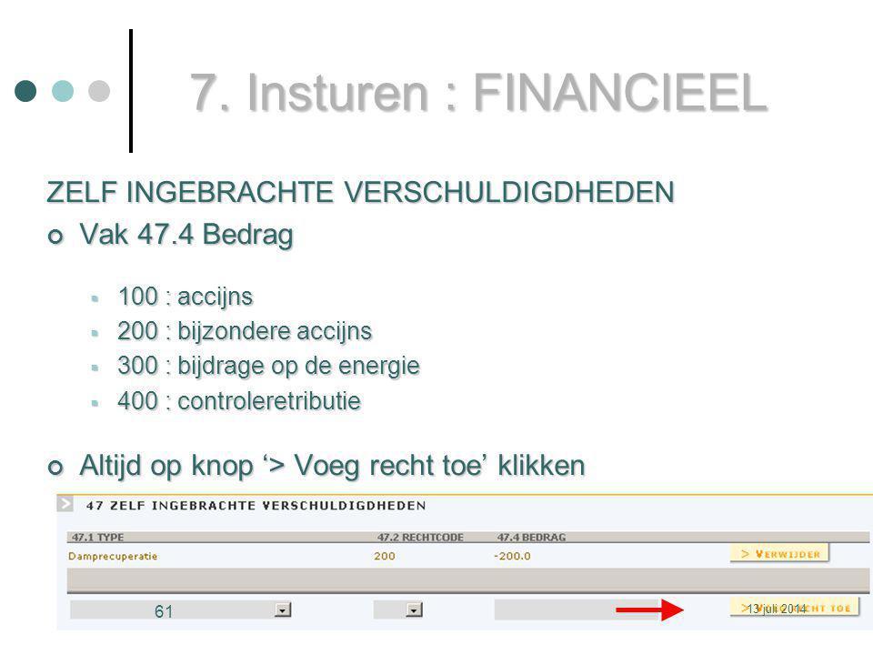 7. Insturen : FINANCIEEL ZELF INGEBRACHTE VERSCHULDIGDHEDEN