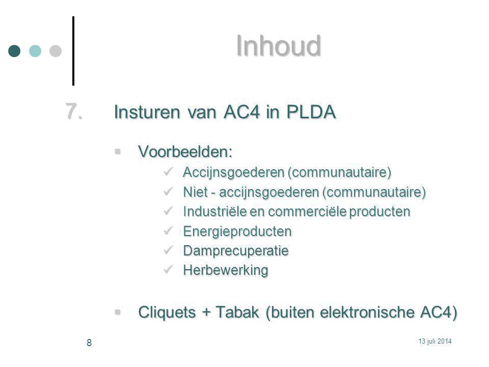 Inhoud Insturen van AC4 in PLDA Voorbeelden: