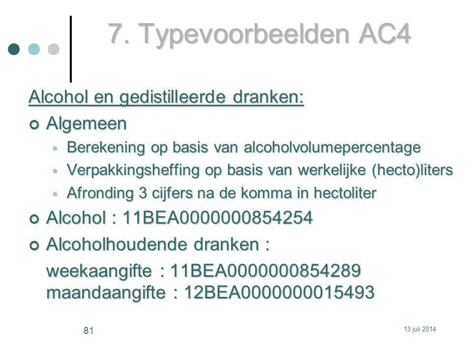 7. Typevoorbeelden AC4 Alcohol en gedistilleerde dranken: Algemeen