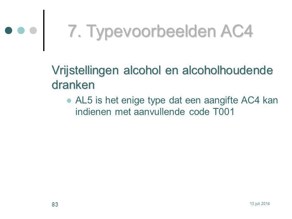 7. Typevoorbeelden AC4 Vrijstellingen alcohol en alcoholhoudende dranken.