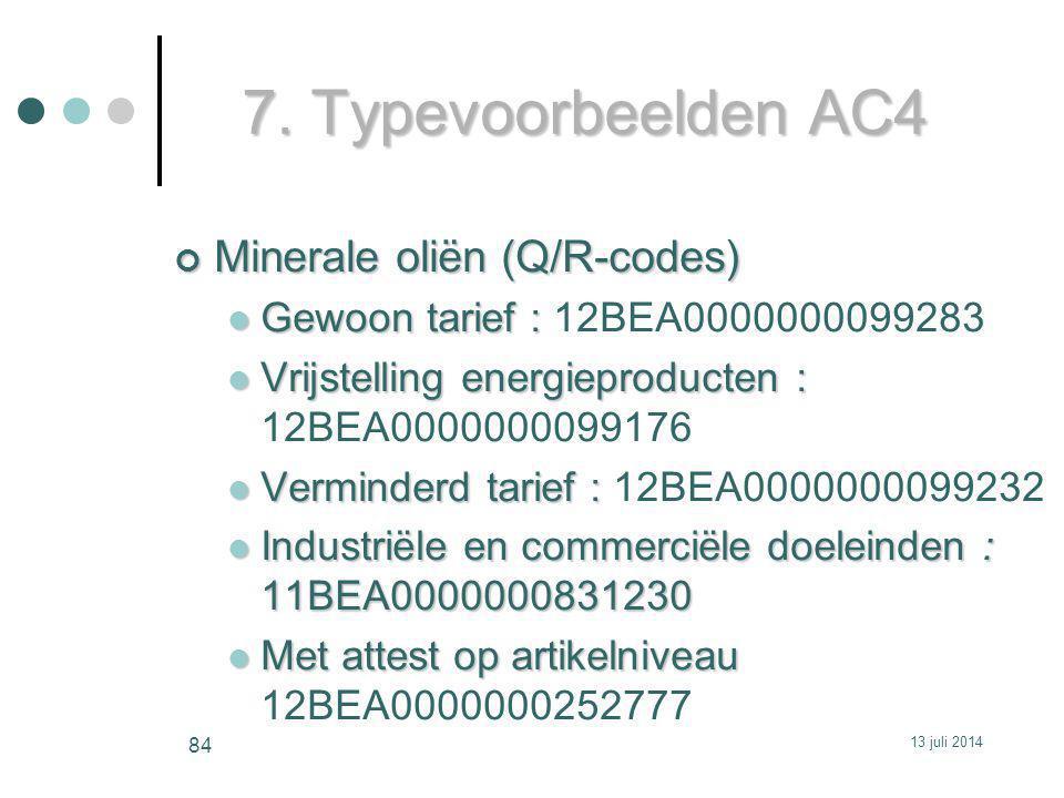 7. Typevoorbeelden AC4 Minerale oliën (Q/R-codes)