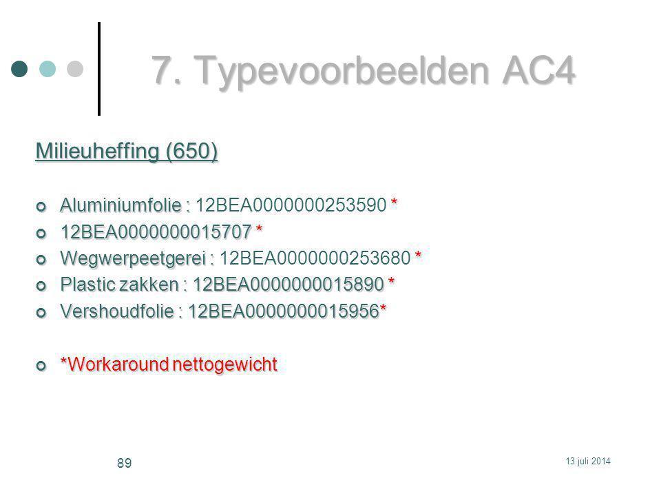 7. Typevoorbeelden AC4 Milieuheffing (650)