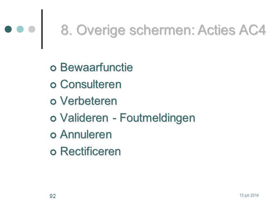 8. Overige schermen: Acties AC4