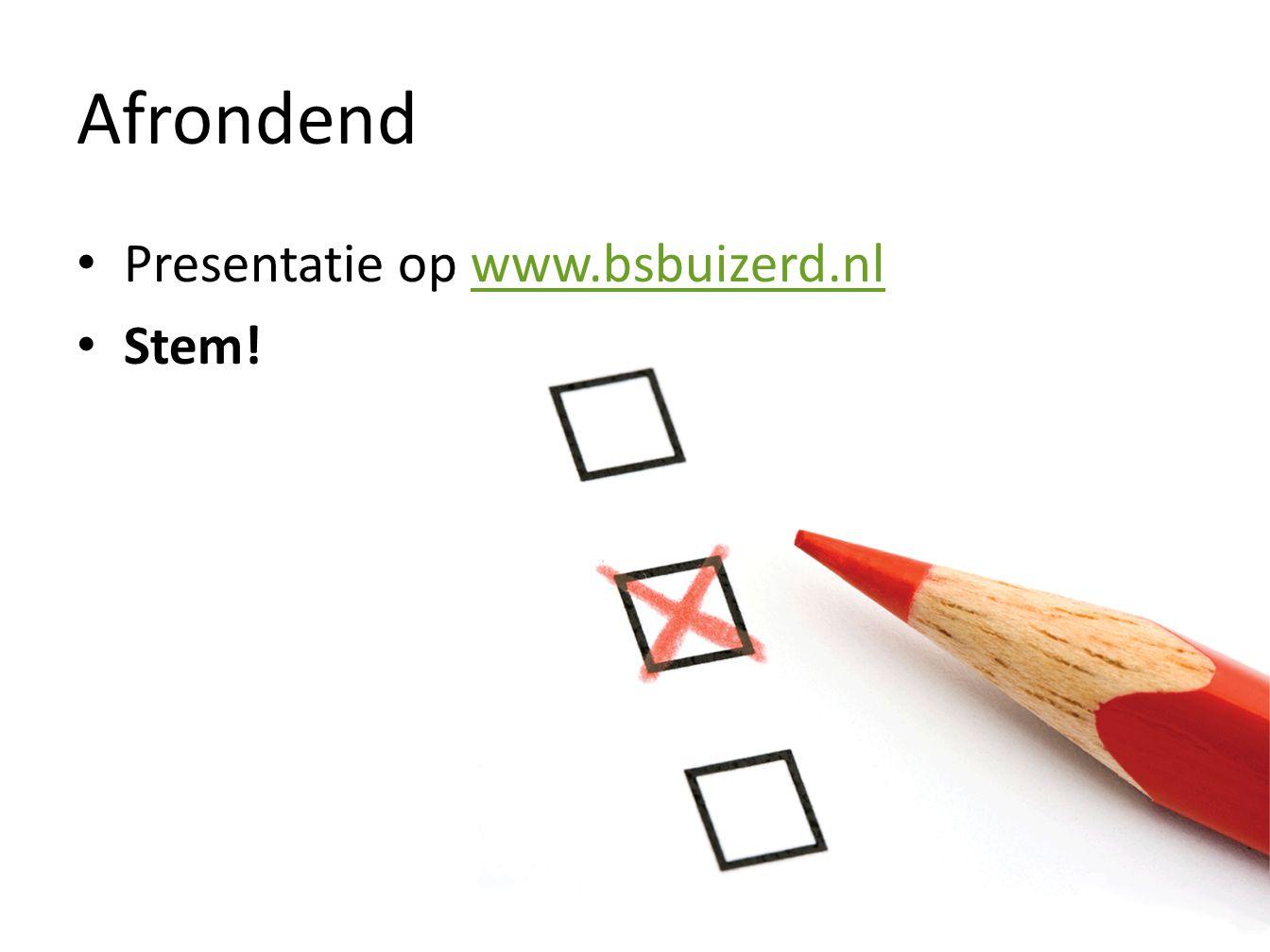 Afrondend Presentatie op www.bsbuizerd.nl Stem!