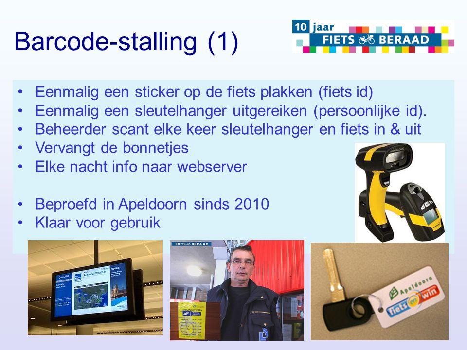 Barcode-stalling (1) Eenmalig een sticker op de fiets plakken (fiets id) Eenmalig een sleutelhanger uitgereiken (persoonlijke id).