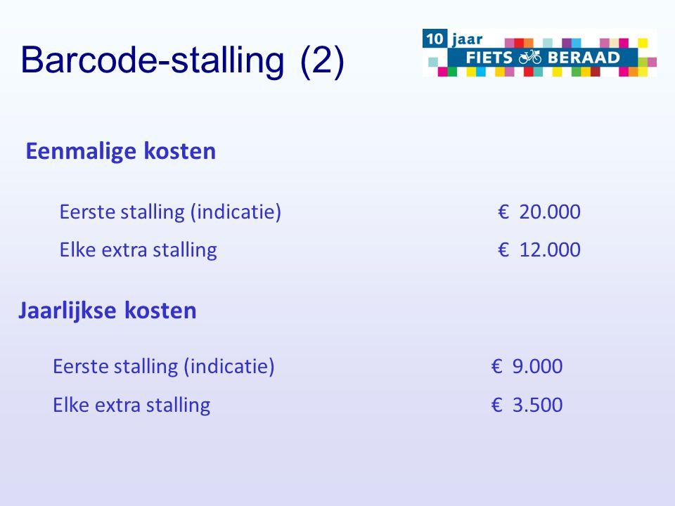 Barcode-stalling (2) Eenmalige kosten Jaarlijkse kosten