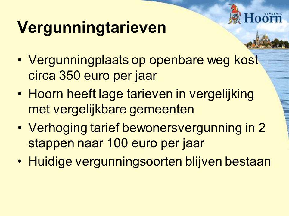 Vergunningtarieven Vergunningplaats op openbare weg kost circa 350 euro per jaar.