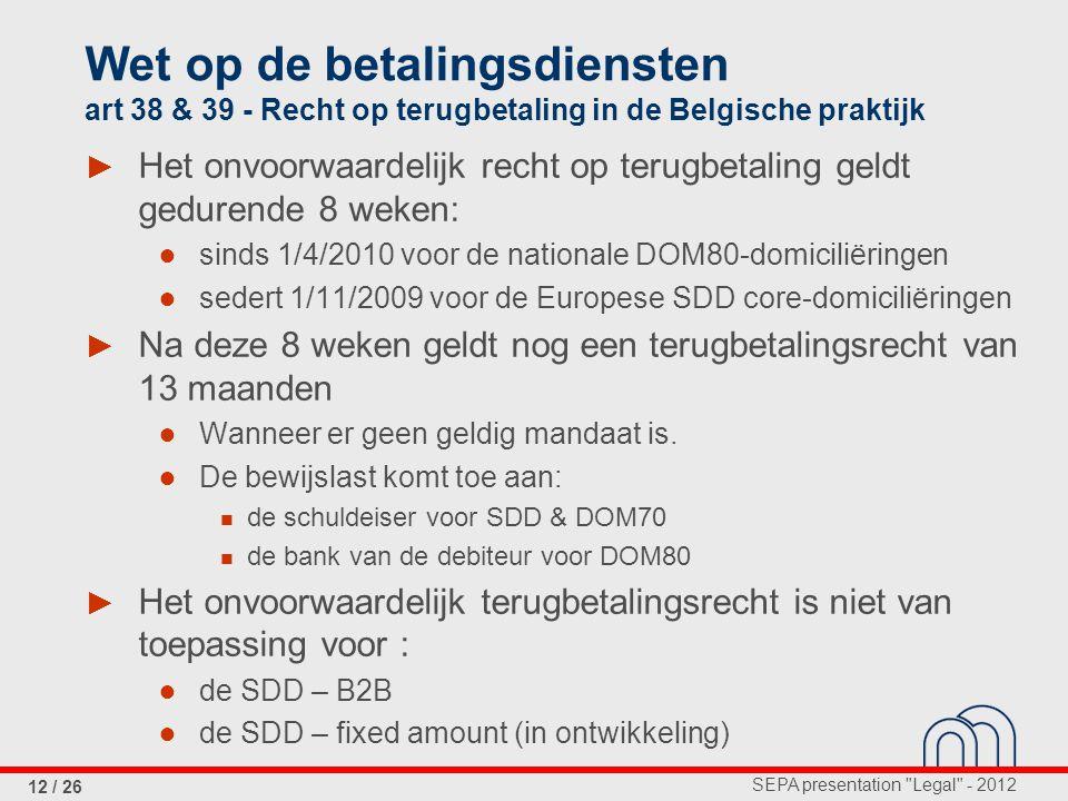 Wet op de betalingsdiensten art 38 & 39 - Recht op terugbetaling in de Belgische praktijk