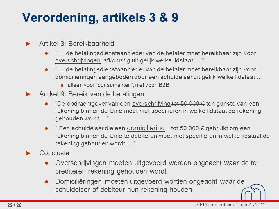 Verordening, artikels 3 & 9