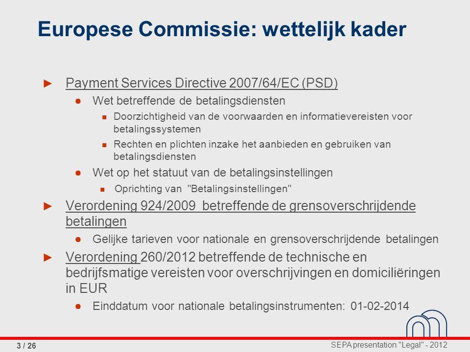 Europese Commissie: wettelijk kader