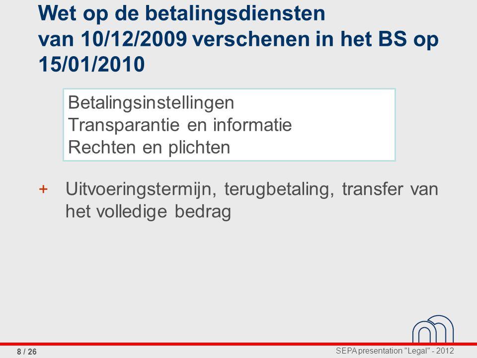 Wet op de betalingsdiensten van 10/12/2009 verschenen in het BS op 15/01/2010