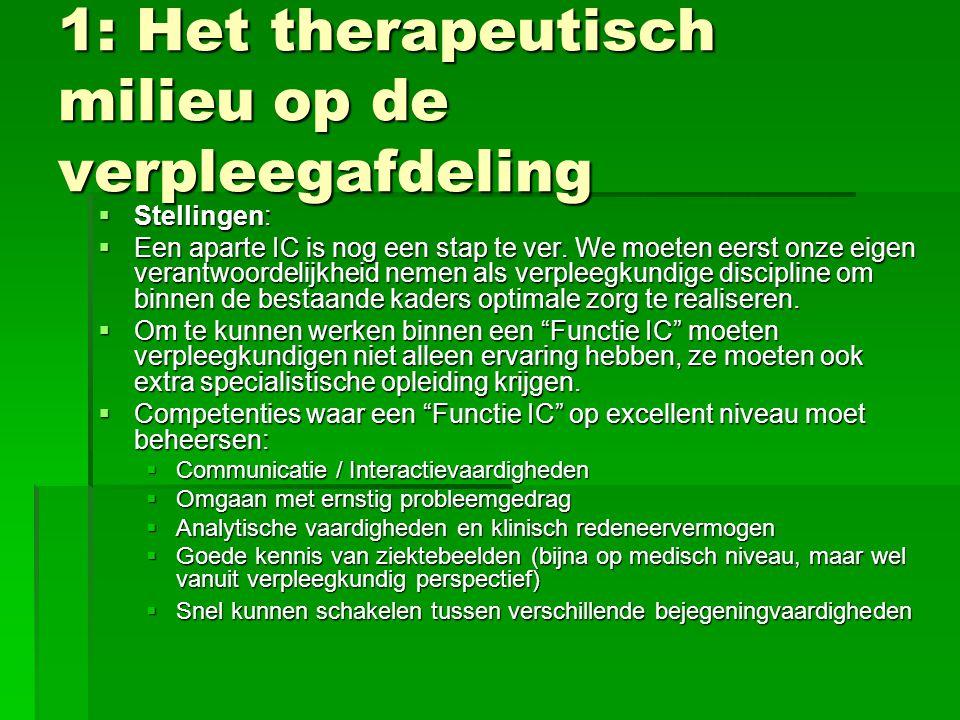 1: Het therapeutisch milieu op de verpleegafdeling