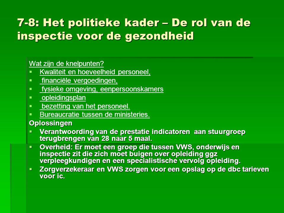7-8: Het politieke kader – De rol van de inspectie voor de gezondheid