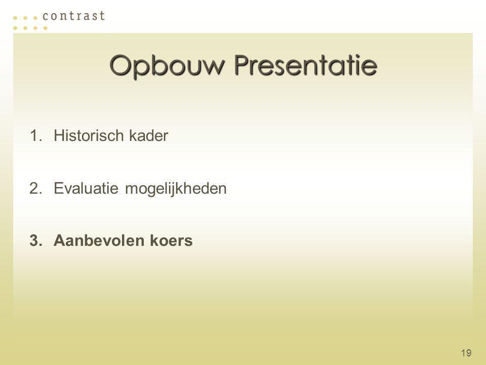 Opbouw Presentatie Historisch kader Evaluatie mogelijkheden