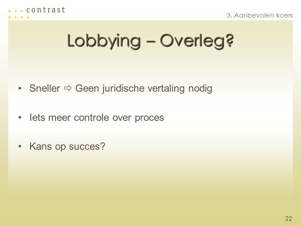 Lobbying – Overleg Sneller  Geen juridische vertaling nodig