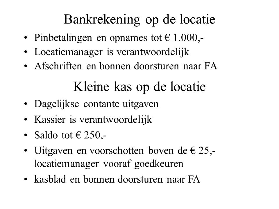 Bankrekening op de locatie