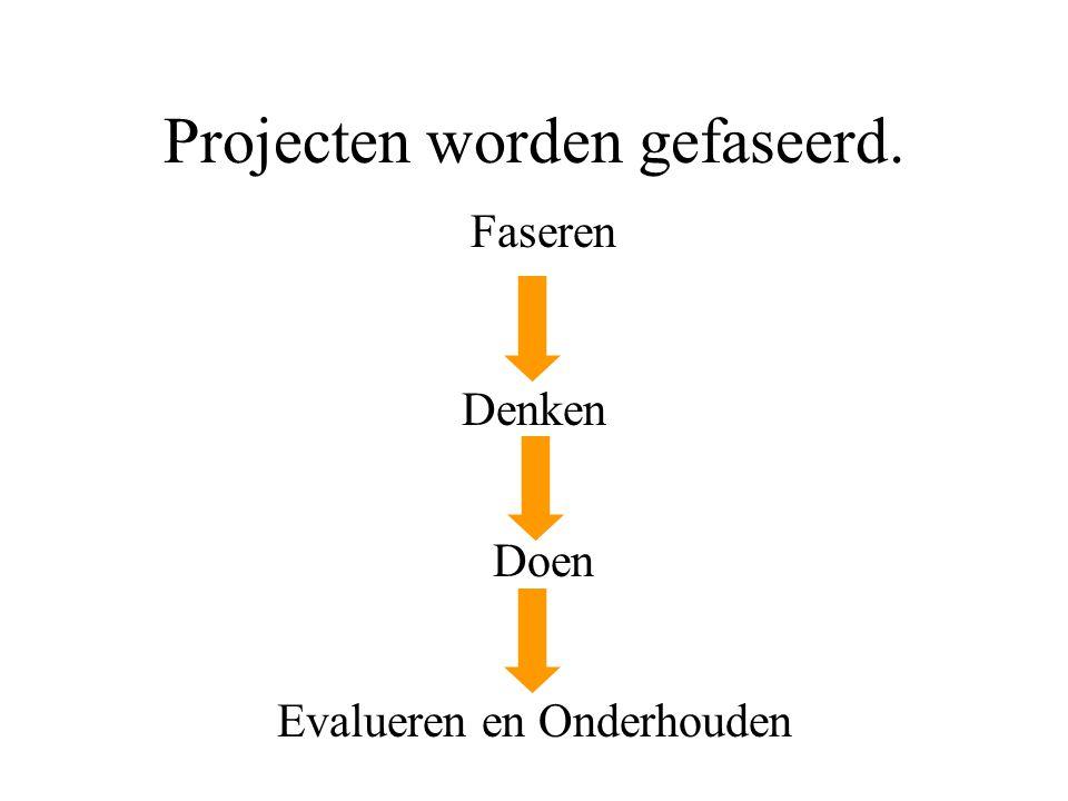 Projecten worden gefaseerd.