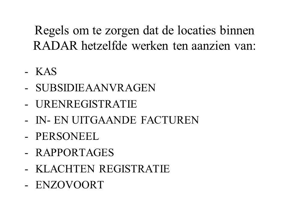 Regels om te zorgen dat de locaties binnen RADAR hetzelfde werken ten aanzien van: