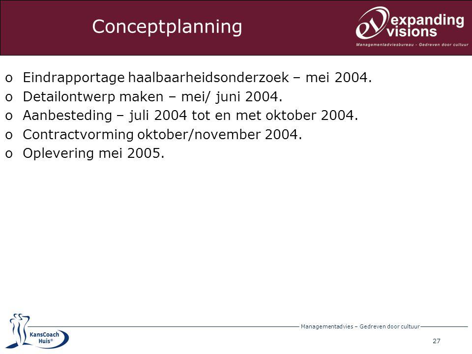 Conceptplanning Eindrapportage haalbaarheidsonderzoek – mei 2004.