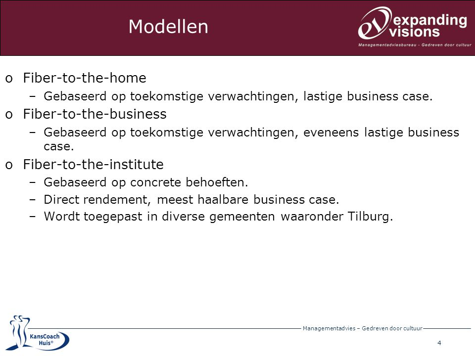 Modellen Fiber-to-the-home Fiber-to-the-business