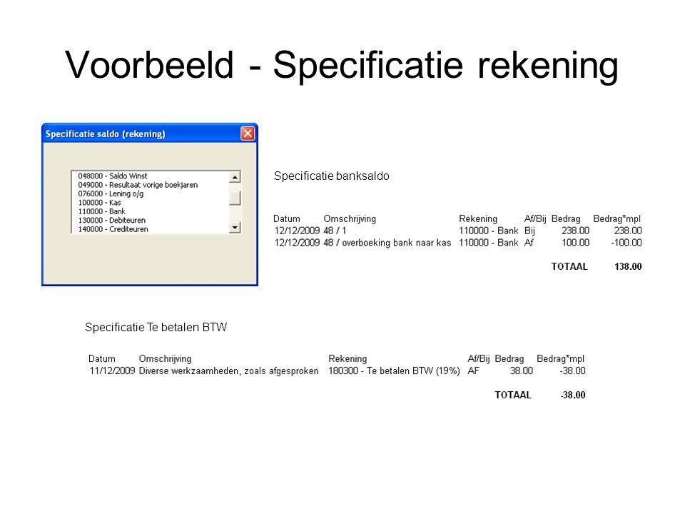 Voorbeeld - Specificatie rekening