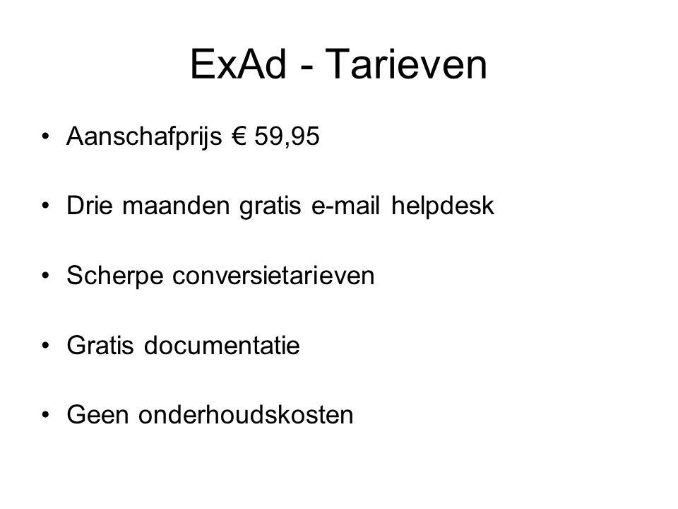 ExAd - Tarieven Aanschafprijs € 59,95