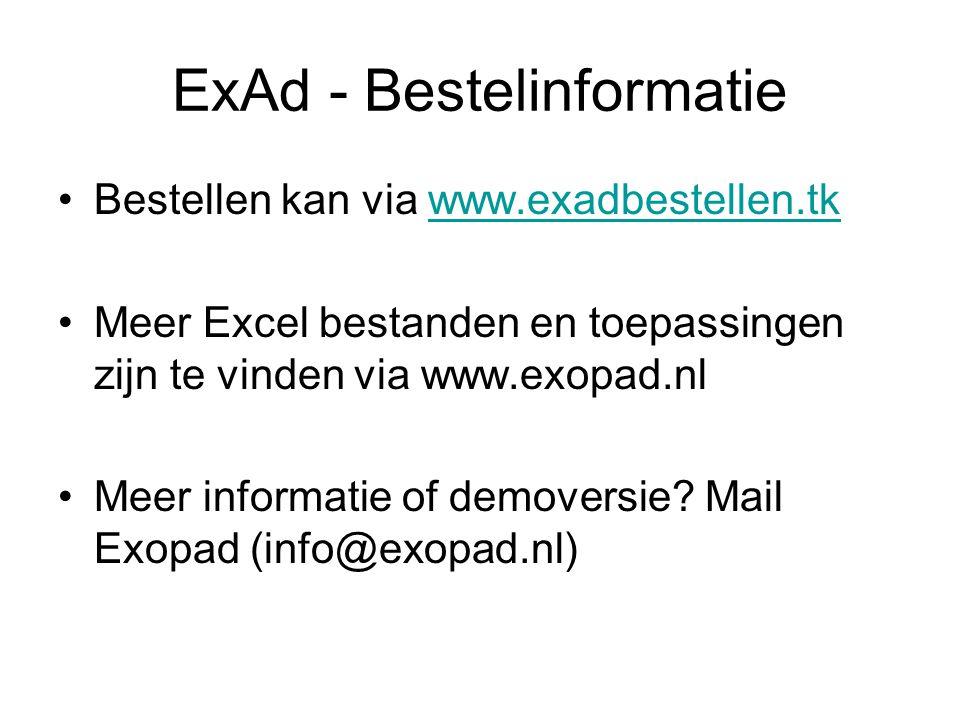 ExAd - Bestelinformatie