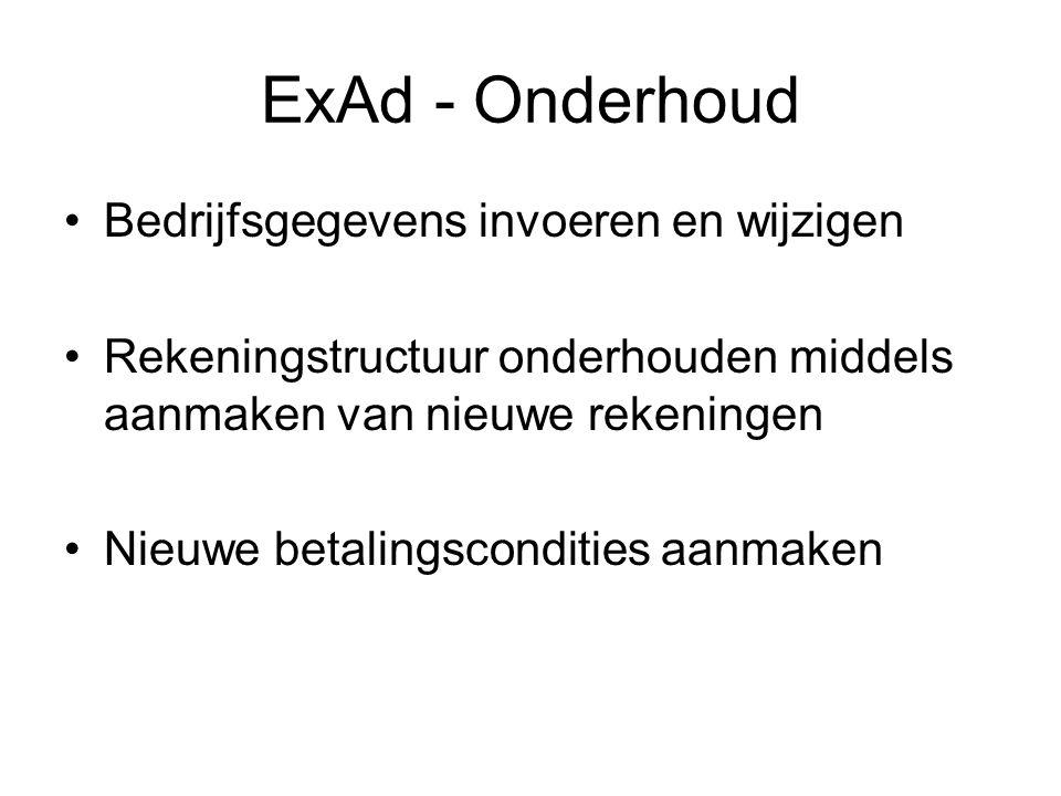 ExAd - Onderhoud Bedrijfsgegevens invoeren en wijzigen
