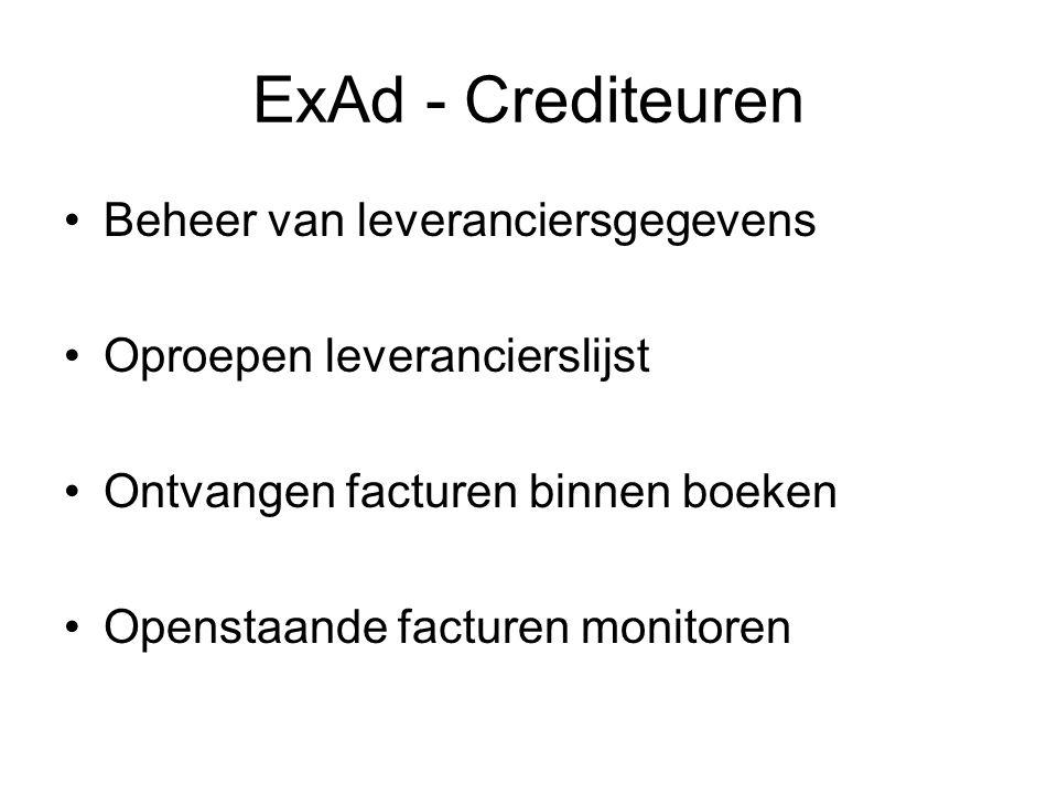 ExAd - Crediteuren Beheer van leveranciersgegevens