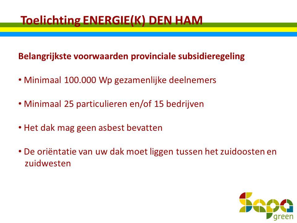 Toelichting ENERGIE(K) DEN HAM