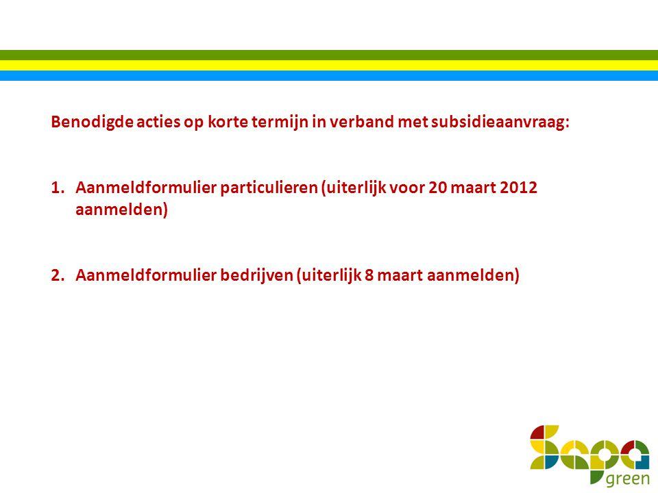 Benodigde acties op korte termijn in verband met subsidieaanvraag:
