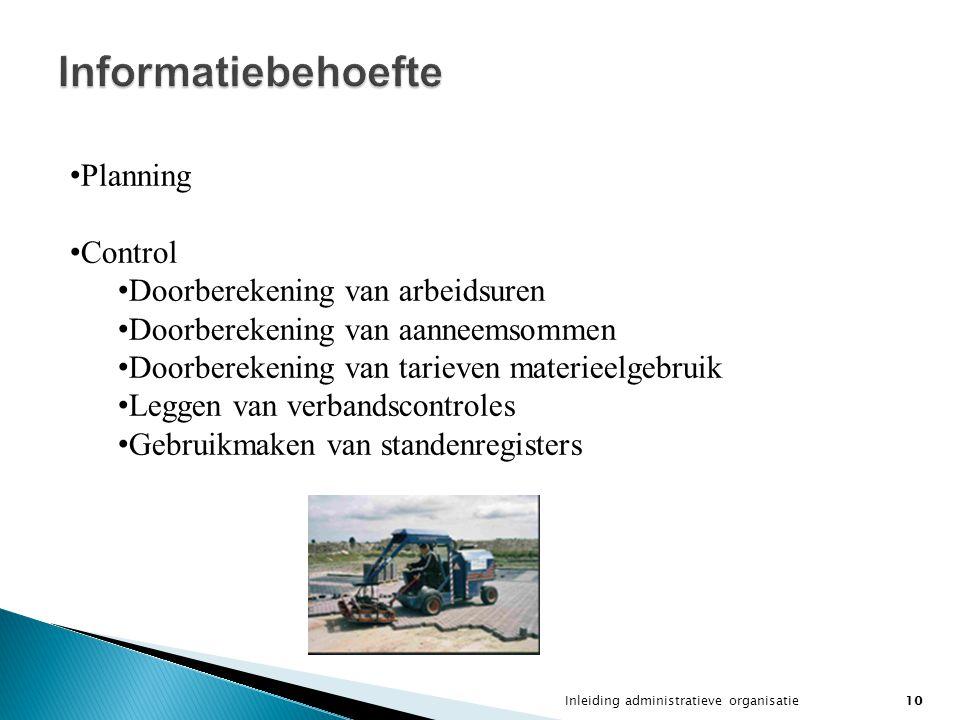 Informatiebehoefte Planning Control Doorberekening van arbeidsuren