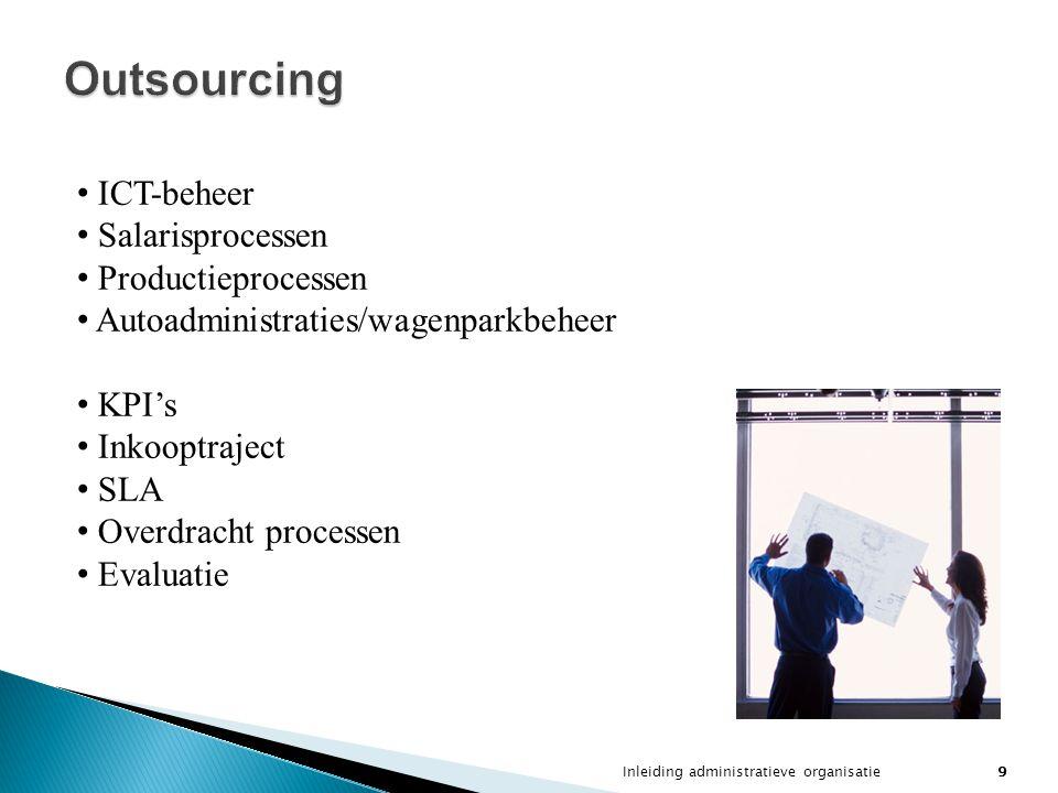 Outsourcing ICT-beheer Salarisprocessen Productieprocessen