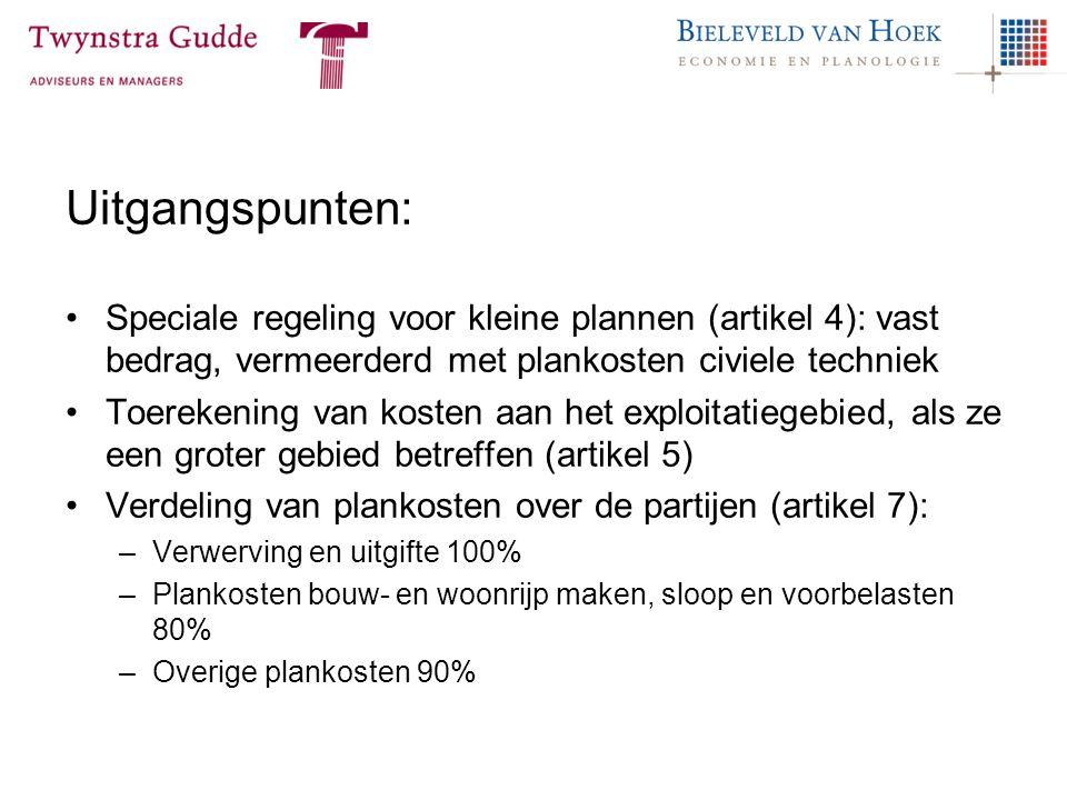 Uitgangspunten: Speciale regeling voor kleine plannen (artikel 4): vast bedrag, vermeerderd met plankosten civiele techniek.