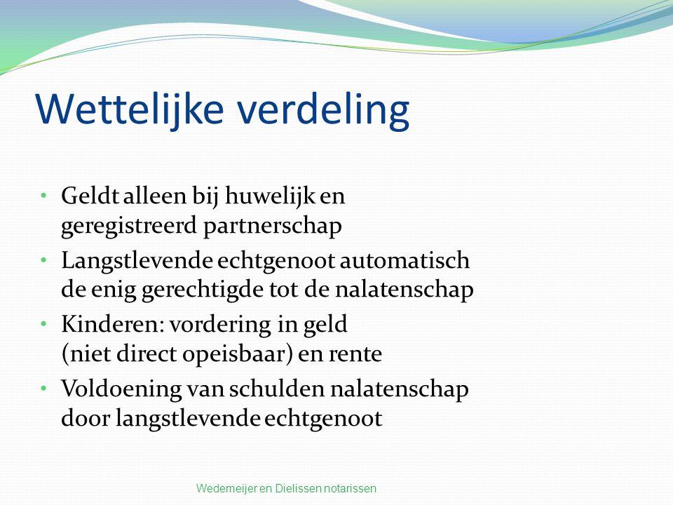 Wettelijke verdeling Geldt alleen bij huwelijk en geregistreerd partnerschap.