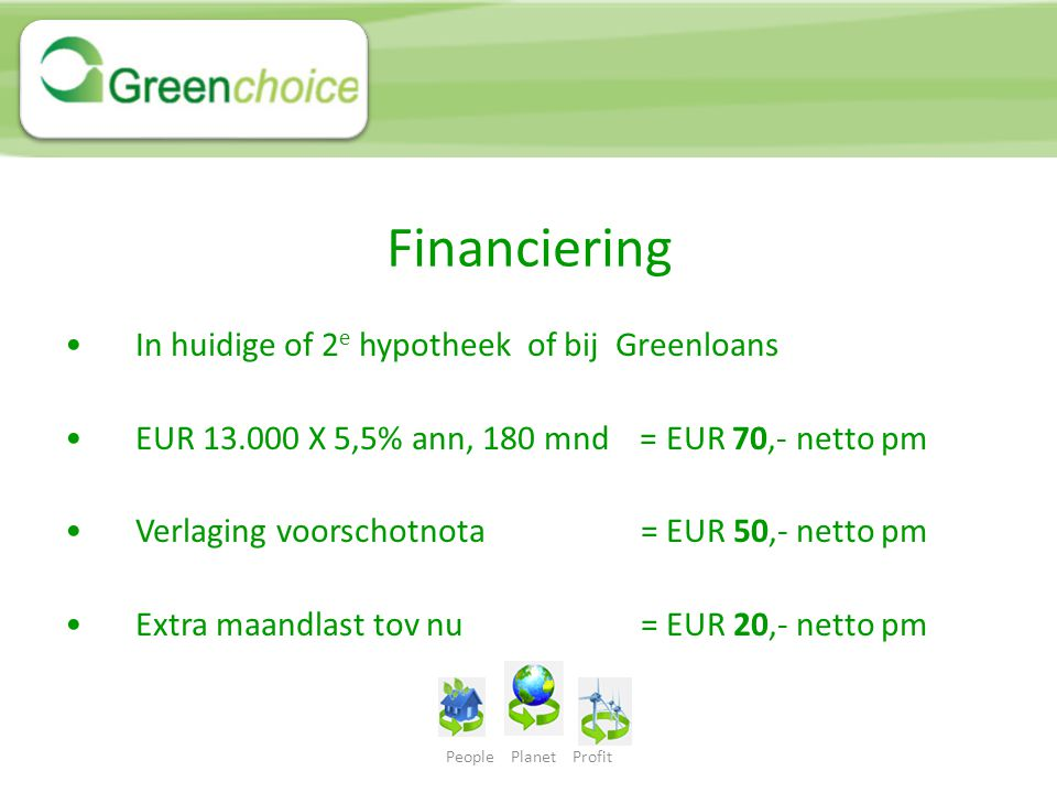 Financiering In huidige of 2e hypotheek of bij Greenloans