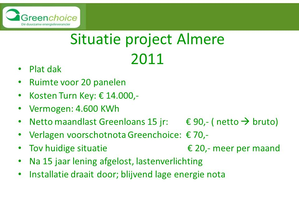Situatie project Almere 2011