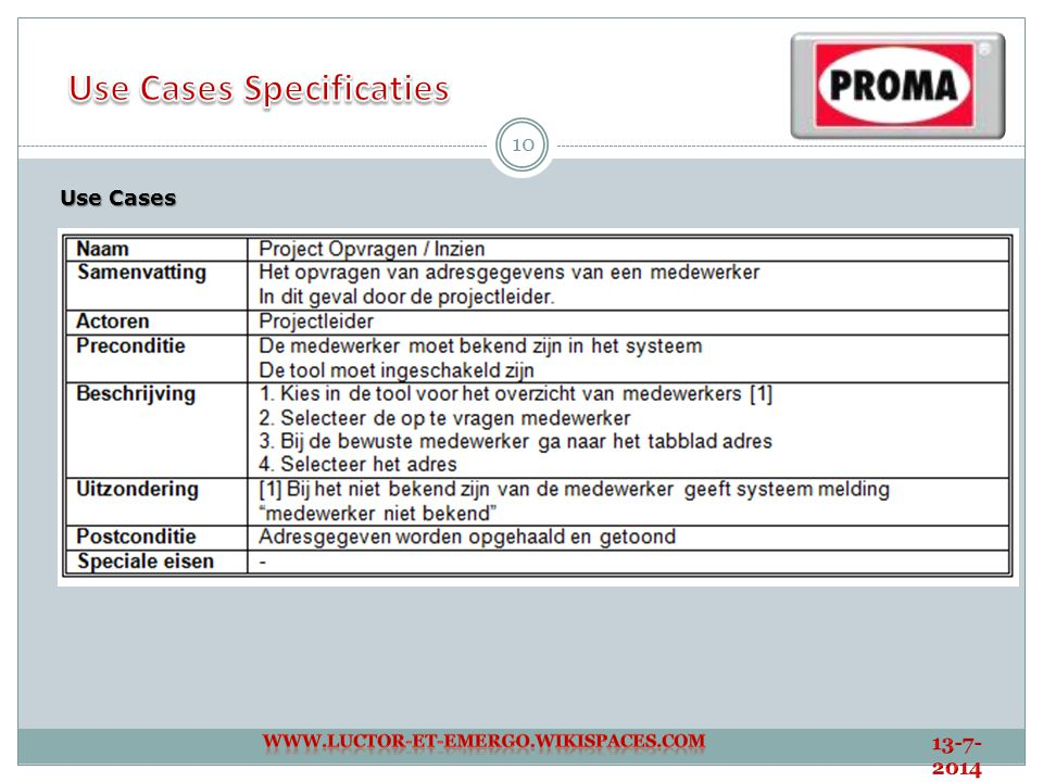 Use Cases Specificaties