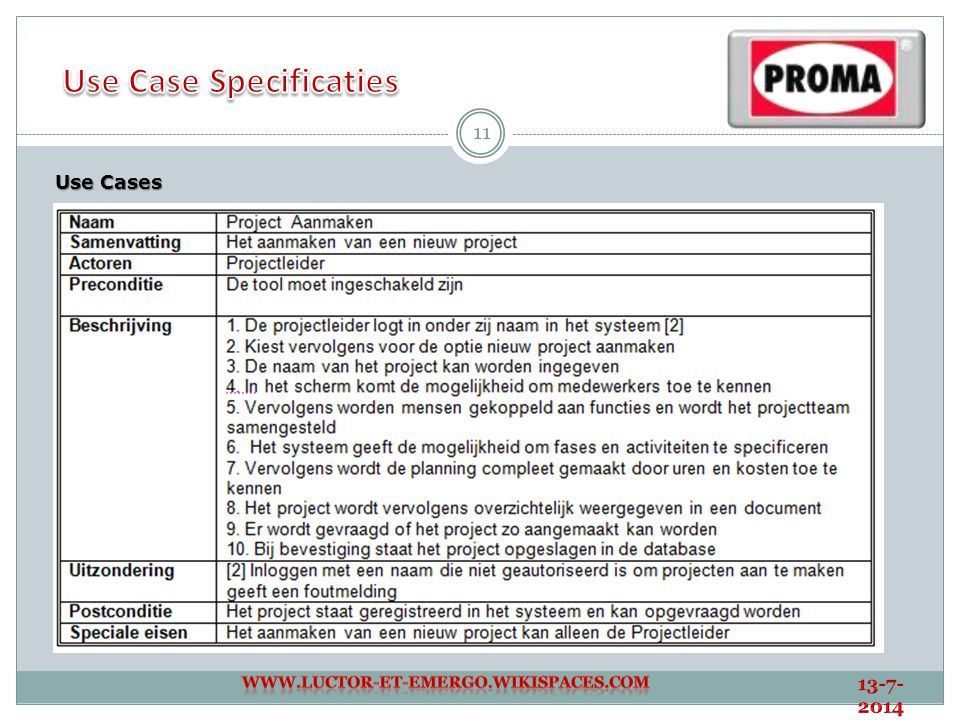 Use Case Specificaties